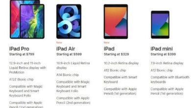 مقارنة بين iPad models مثل pro, mini,Air,2020 من Apple